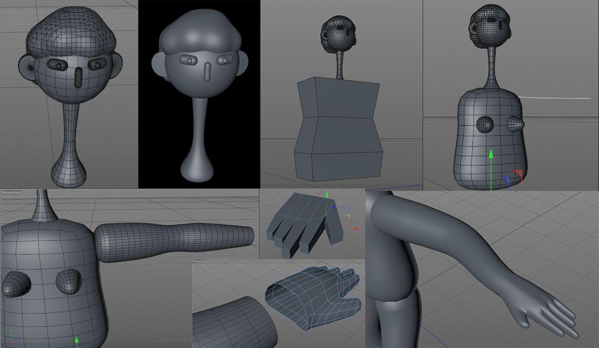 Modelado 3D del personaje en Cinema 4D
