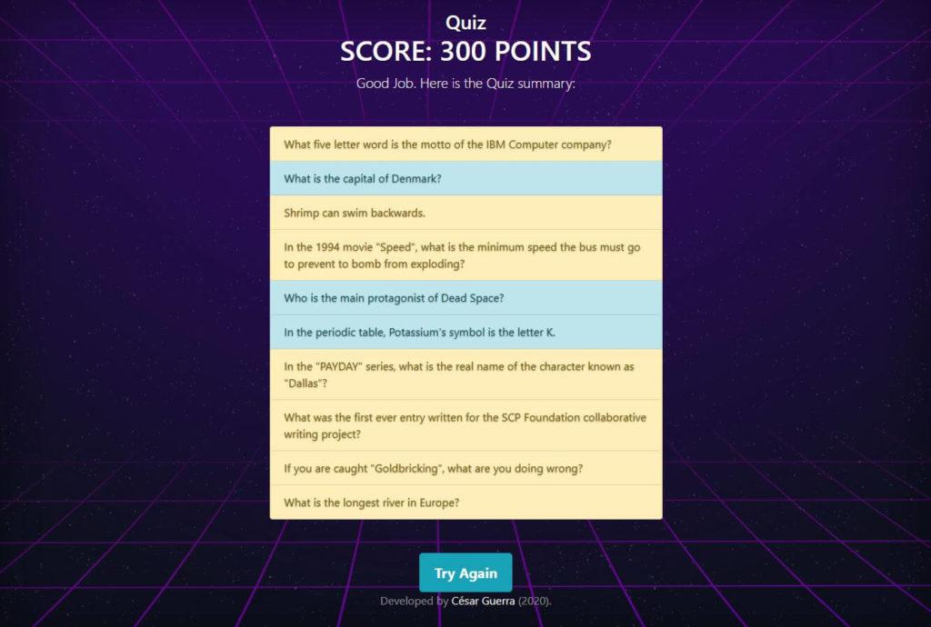 Proyecto Quiz de Master en Coding de Dev.F - Pantalla de Score