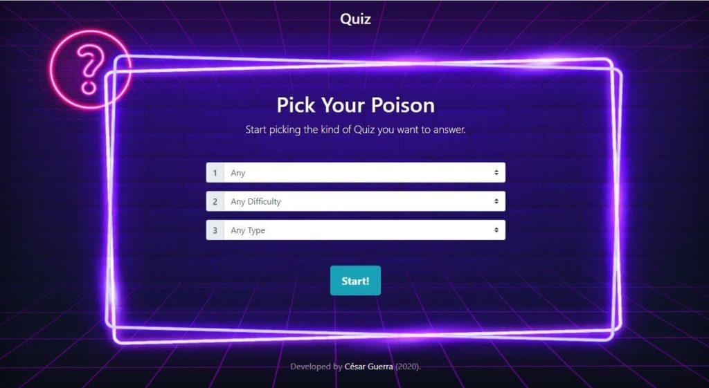 Proyecto Quiz de Master en Coding de Dev.F - Pantalla Inicial